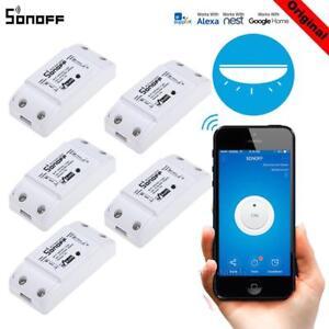 5x-SONOFF-Wifi-Switch-Funziona-Con-Alexa-Per-Google-Home-Timer-Wireless-H2F7