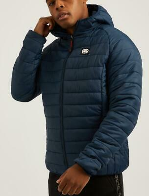 ECKO UNLTD MENS BRICK LANE WINTER PADDED HOODED JACKET COAT BLACK//BLUE