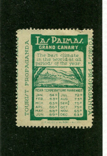 Poster Stamp Label LAS PALMAS GRAN CANARY Tourist Propaganda temperatures #IM