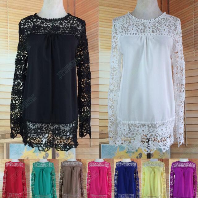 Fashion Women Loose Long Sleeve Top Blouse Lace Crochet Chiffon Shirt Size