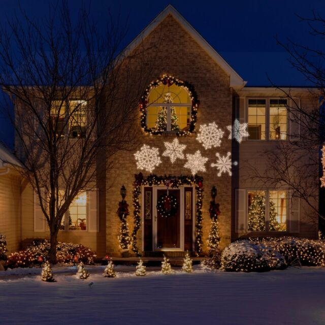 Lightshow Projection Ornate Snowflurry White Light Projector Christmas Decor