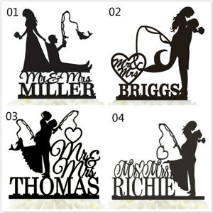 Personalised-Fishing-Wedding-Cake-Topper-Mr-amp-Mrs-Bride-And-Groom-With-Last-Name
