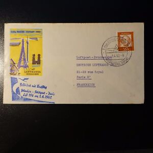 ALLEMAGNE-AVIATION-LETTRE-COVER-PREMIER-VOL-MUNCHEN-STUTTGART-PARIS-1962