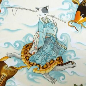 Alexander-Henry-Feline-Fisherman-Asian-Cats-8643A-Parchment-Cotton-Fabric-BTY