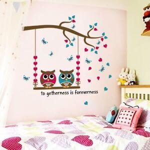 Wandtattoo-Wandsticker-Wandaufkleber-Eulen-Aufkleber-Deko-Kinderzimmer-Baby