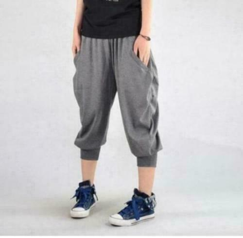 Mens Harem Short Pants Loose Fit Beach Summer Casual Wide Leg Sport Trousers
