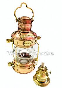 Antiquitäten & Kunst Messing & Kupfer Anker Öllampe ~ Nautische Maritime Schiff Laterne Boot Light Ausreichende Versorgung Lampen & Leuchten