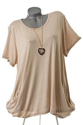 EG 40 42 44 46 48 Sommer-Top Tunika Bluse Shirt blickdicht 6 Farben ITALIEN