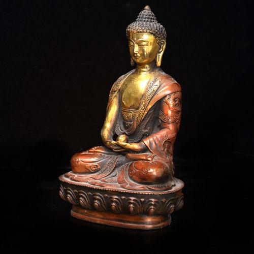 Old China Tibet Brass Tibetan Buddhism Mendicant Priest Statue Shakya Muny