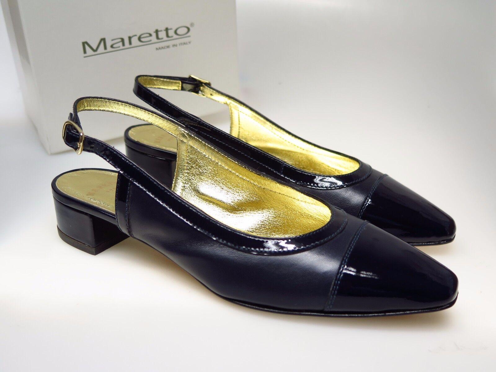 MARETTO Italy Designer Damenschuhe 6955 Gina Nappa Vernice Bleu Gr. 36,5 NEU