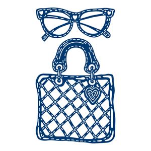 Tattered Lace FABULOUS FASHION Craft Cutting Die Set Handbag Glasses 442249