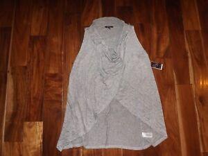 NWT Womens OLIVIA SKY Sleeveless Open Drape Cardigan Wrap Gray Combo ... bb4f4832f