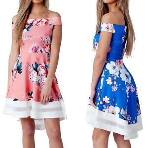 Womens-Floral-Bardot-Off-Shoulder-Dip-Hem-Dress-Sleeveles-Skater-Mesh-Insert