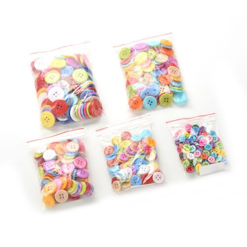 100 Pcs Mixed Color Buttons 4 Holes Children/'s DIY Crafts 10mm 5 Sizes .