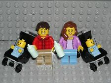 LEGO CITY FAMILY - Twin Baby Boys Mother Father Strollers Mom Dad Minifigures