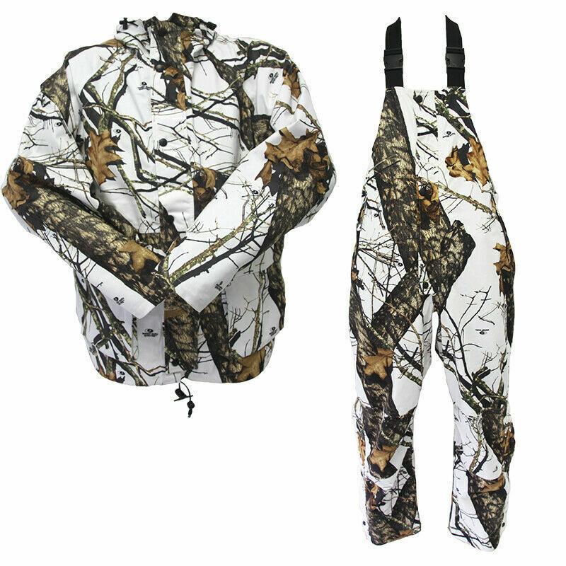 Chaqueta Hunting de Mossy Oak Impermeable & Babero   Winter Break Up Camo   blancooo y Marrón