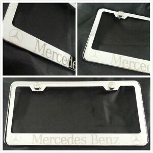 Laser engraved for mercedes benz chrome license plate for Mercedes benz tag screws