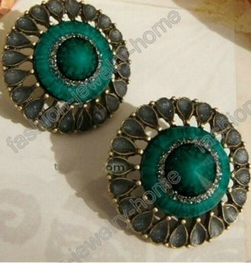 1pair New Fashion Antique Style Turquoise Flower Earring Stud Earrings