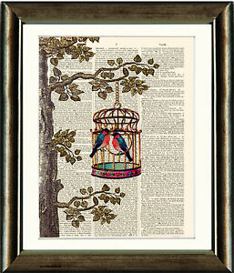 Antique-Book-page-Art-Print-Bird-Cage-Tree-Birds-Vintage-Dictionary-Wall-Art