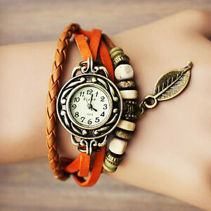 montre femme ado orange look vintage retro bracelet perle. Black Bedroom Furniture Sets. Home Design Ideas