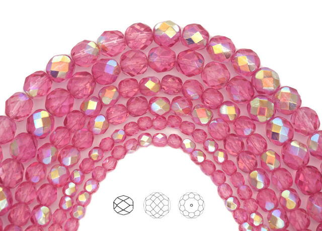 25 8mm Round Czech Glass Faceted Fire Polish Beads Rose Pink Transparent