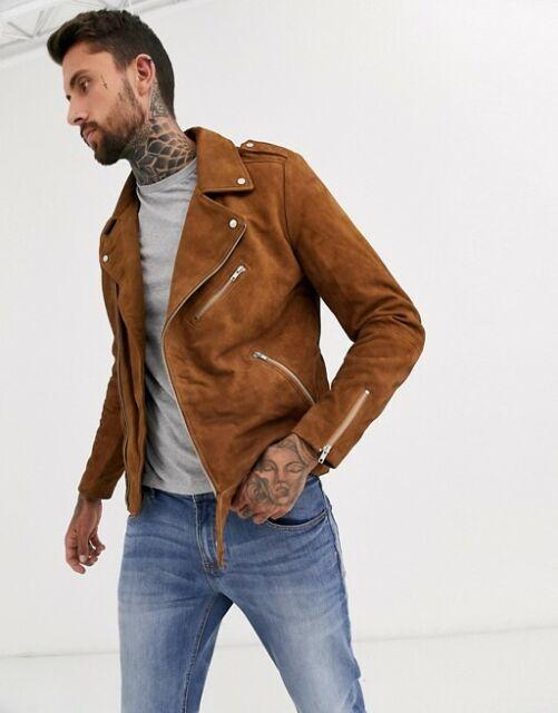 Mens Brown Genuine Suede Leather Jacket