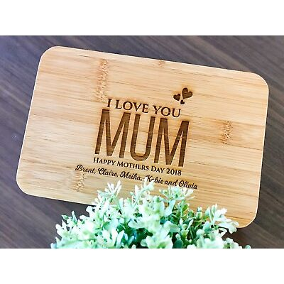 """""""I Love You Mum"""" Mothers Day Gifts - Personalised Engraved Mini Bamboo Board"""