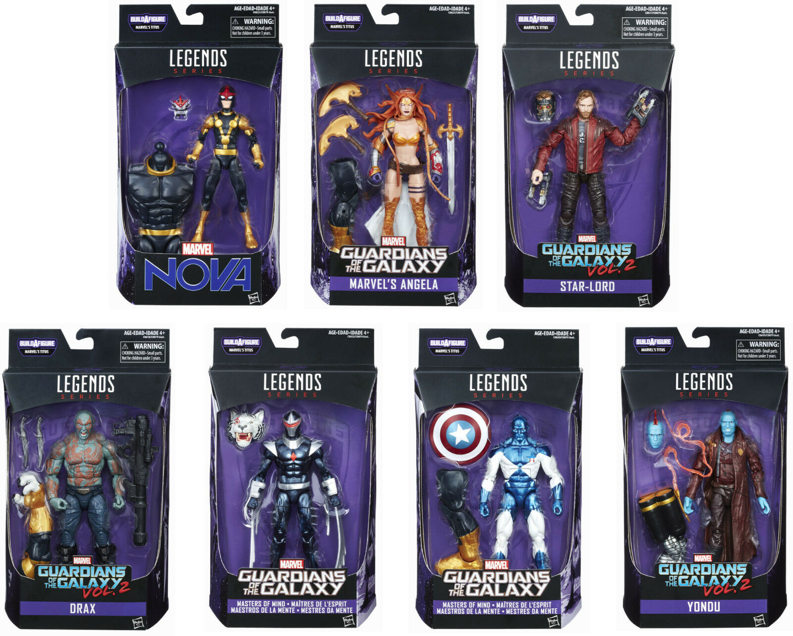 MARVEL LEGENDS GUARDIANS OF THE GALAXY SERIES BAF TITUS COMPLETE SET OF 7