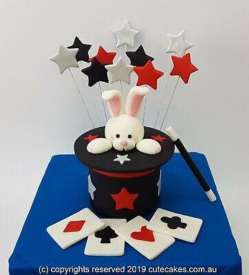 Stupendous 3D Magic Hat Rabbit Bunny Cake Topper Card Wand Stars Magician Funny Birthday Cards Online Kookostrdamsfinfo