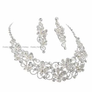 YT246 Clear Rhinestone Crystal Silver Plated Earrings Necklace Set Bridal Gift