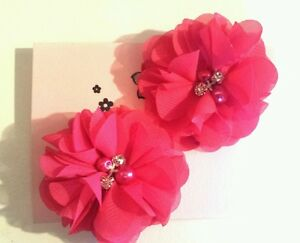 2 Girlsladies Hot Pink 2 Flowervoile Hair Clip Pearl Diamante