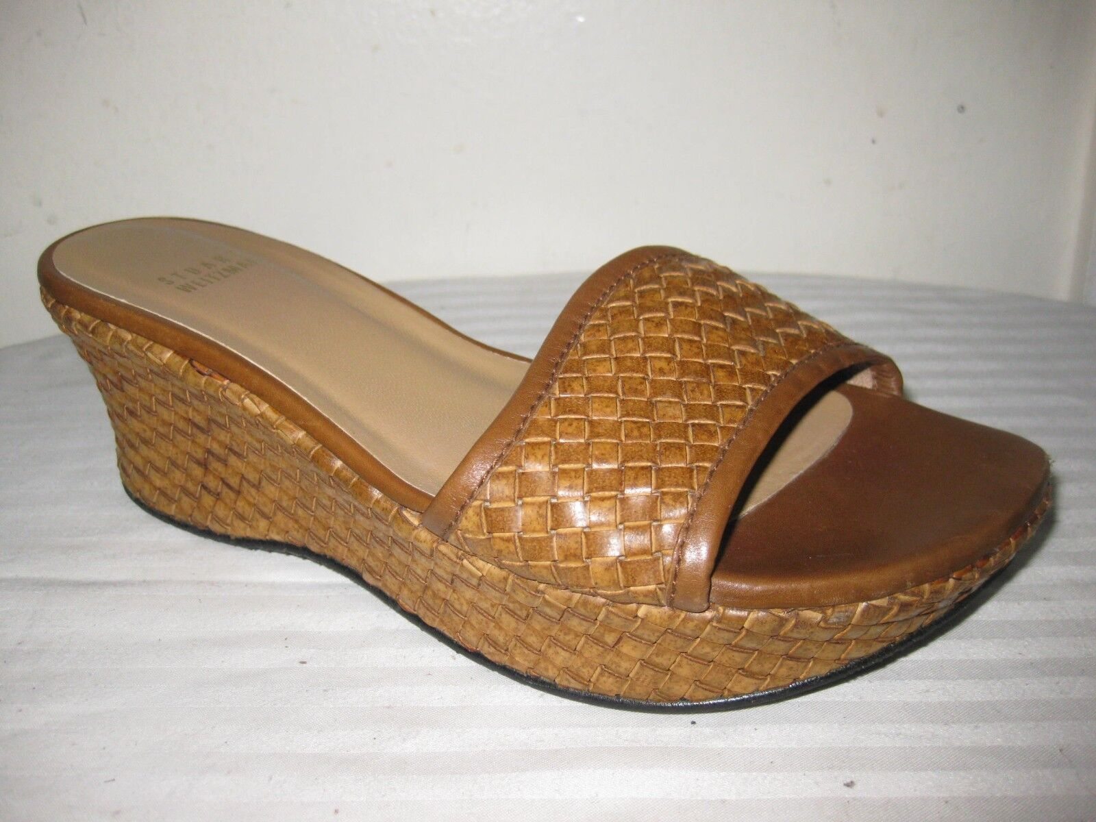 Stuart Stuart Stuart Weizmann diapositivas de cuña de tejido de Cuero Marrón Sandalias Zapatos para mujer Talla 7 W  precios mas bajos