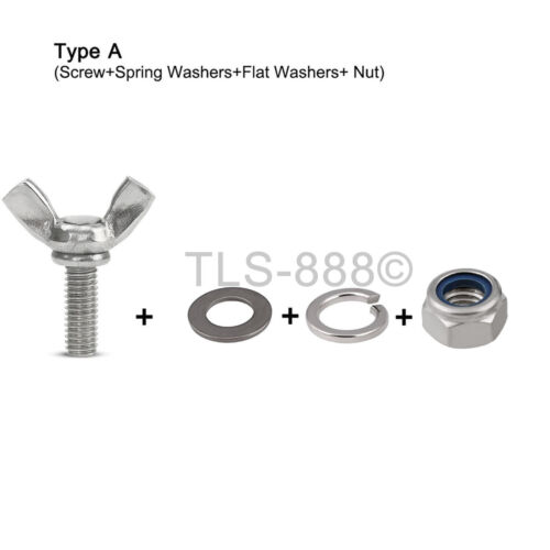 M4*8-30mm Butterfly Wing Screws Bolt+Nyloc Nut+Flat/&Spring Washer Kit A4SS Match