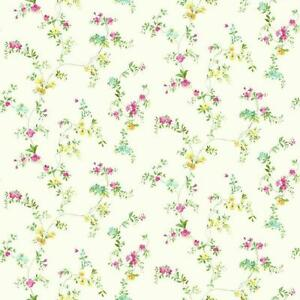 Details About Wallpaper Traditional Small Print Watercolor Floral Vine Pink Yellow Green Aqua