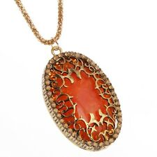 RF ORANGE Oval Amber Diamond Retro Sweater Chain Long Pendant Unisex Necklace