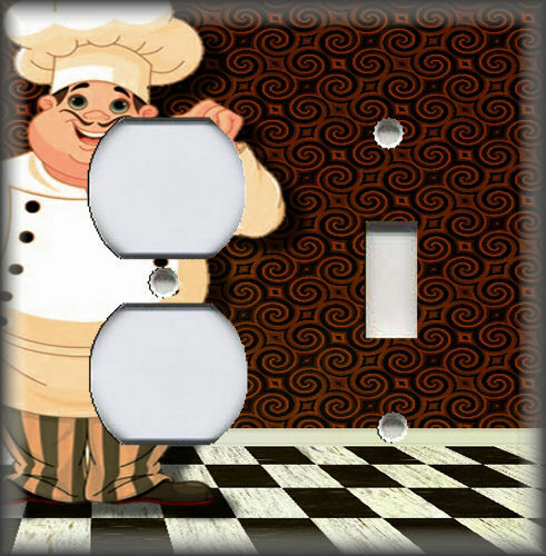 Metal Light Switch Plate Cover Brown Fat Chef Decor Kitchen Plates Outlet Covers Enterprisesupport Home Garden
