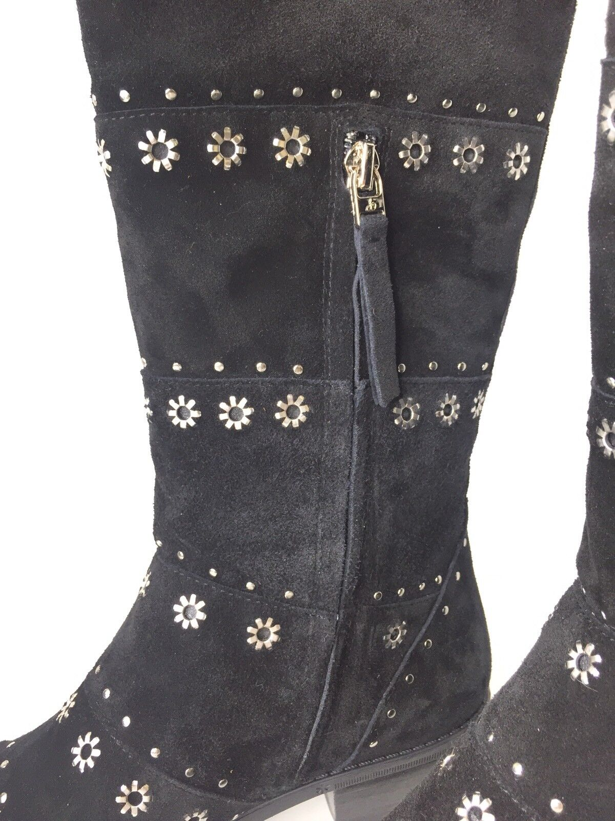 Sam Edelman Edelman Edelman Chandler Suede Leather Black Boots Studded Tall High Riding Size 6 df7bfa