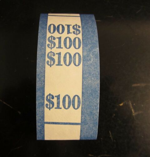 250 SELF SEALING BLUE $100 CURRENCY STRAPS MONEY BILL BANDS $100 PMC BRAND STRAP