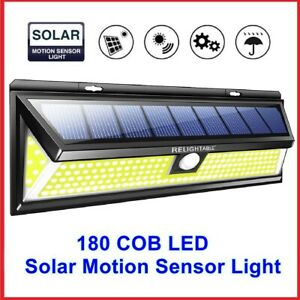 Details about RELIGHTABLE Solar Powered 180 COB LED 3D Wide Angle Motion  Sensor Light 3-Mode B