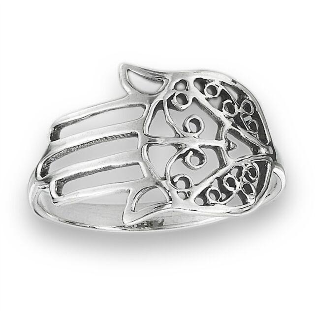 Sterling Silver Khasma Khamsa Hamsa Hand of God Ring Size 5-9