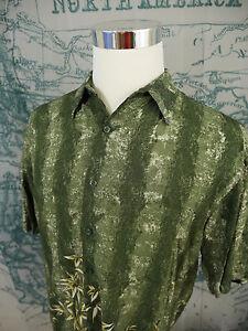 7ef913a6 Puritan Men's Short Sleeve Hawaiian Shirt - Green Floral, Rayon, Sz ...