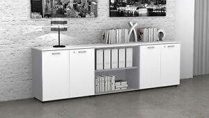 Fumu cuaa02 mobile ufficio basso libreria 4 ante legno con for Mobile basso ufficio