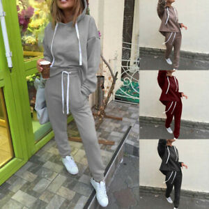 2Pcs Tops Pants Sweatshirt Sweat Suit Jogging Tracksuit Women Hoodies Sports