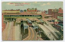 Dudley Street Elevated Railroad Transit Station Boston Massachusetts postcard
