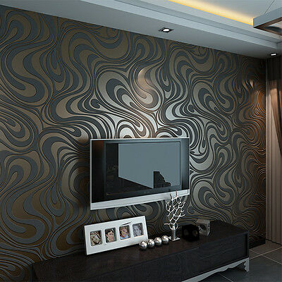 Embossed Luxury Abstract Curve 3D Mural Paper De Parede Flocking Wallpaper Roll