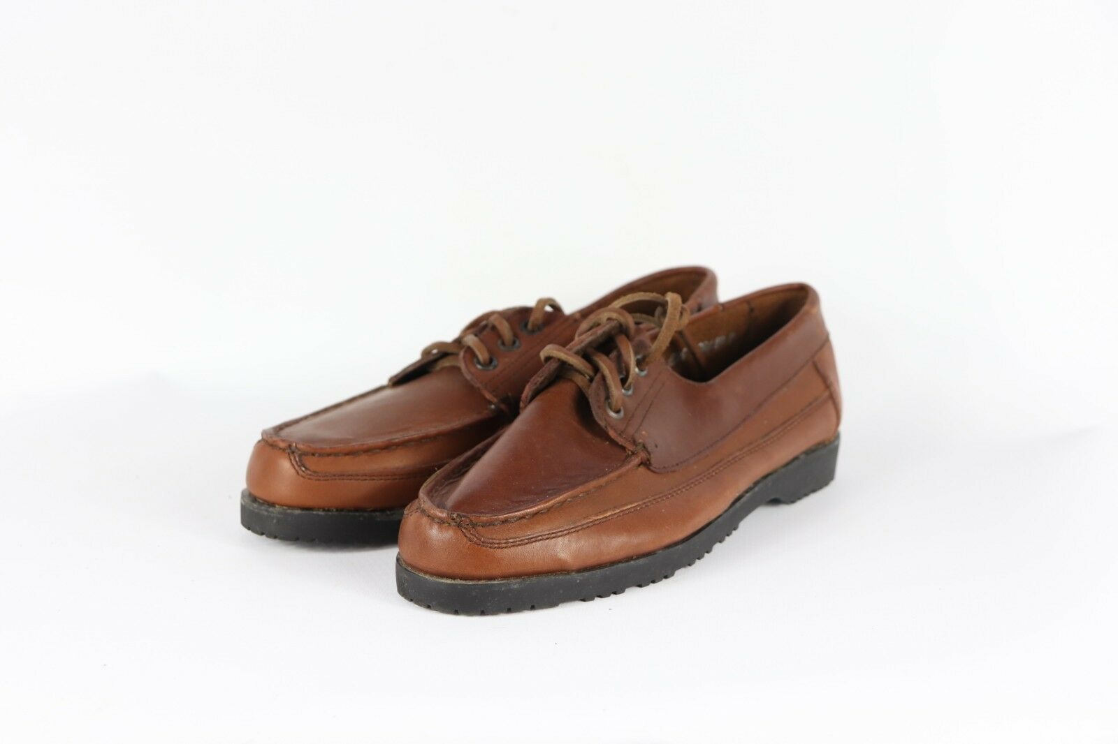 Vintage Newsport Womens 8.5 Leather Lace Up Casual Boat shoes Brown USA Made
