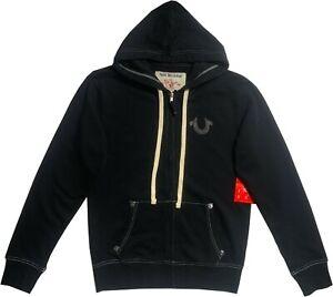 New-Mens-True-Religion-Classic-Logo-Zip-Hoodie-Black-MA0B129MF3-Sale-Sale