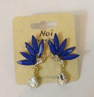 Noi Blue Bead With White Rhinestone Tier Drop Butterfly Design Stud Earrings
