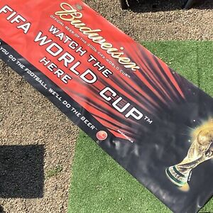 Giant-3m-x-1m-Budwiser-Pub-Banner-VTG-Bar-Football-World-Cup-2006-Man-Cave-Sign