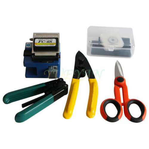 Fiber Optic FTTH Tool Kit FC-6S Fiber Cleaver CFS-2 Stripper Scissor Free Shippi
